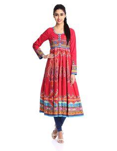 Biba Women's Cotton Anarkali Kurta (Kutch # 9810_Red_34): Amazon.in: Clothing & Accessories