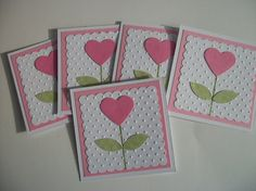 handmade Valentine card ... small square format ... punch art flower with pink hearts ... cute for anytime ...