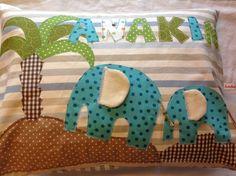 Kissen mit Namen -Elefanten von käfermaier auf DaWanda.com
