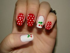 I think I even have a cherry stamp. Pin Up Nails, Hair And Nails, My Nails, Rockabilly Nails, Pin Up Rockabilly, Rockabilly Fashion, Funky Nails, Cute Nails, Pretty Nails
