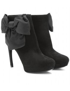 Bow-Embellished Suede Ankle Boots