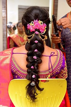 in hairstyle. South Indian bridal hairstyles for reception evening. Ha… in hairstyle. South Indian bridal hairstyles for reception evening. Hairstyle by Deepa. in bridal makeup. Bridal Hairstyle For Reception, Bridal Hairstyle Indian Wedding, South Indian Bride Hairstyle, Bridal Hairdo, Indian Wedding Hairstyles, Indian Bridal Makeup, Bride Hairstyles, Trendy Hairstyles, Hairdos