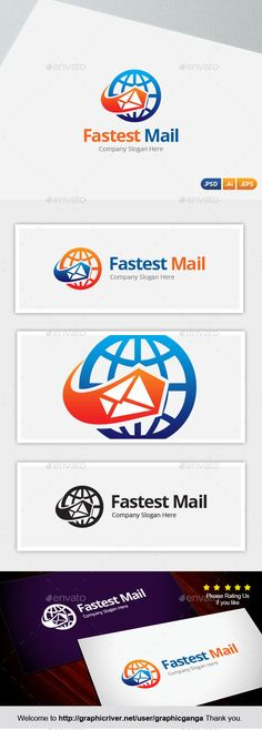 Fastest Mail Logo Design Template Vector #logotype Download it here: http://graphicriver.net/item/fastest-mail/10574392?s_rank=1310?ref=nesto
