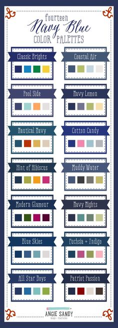 14 Navy Blue Color Palettes | Angie Sandy Design Illustration #colorpalettes #colorcrush #navy