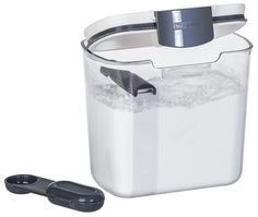 Powdered Sugar Keeper ~ Removable dusting spoon and leveler both snap inside lid for convenient storage. Holds up to a 1 pound bag of powdered sugar. Size: x 4 x 5 Sugar Storage, Space Saving Storage, Flameless Candles, Grey Bedding, Create Space, Food Storage Containers, Kitchen Essentials, Powdered Sugar, Kitchen Storage