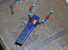 Lapis Lazuli Necklace Copper Wire Wrapped Blue Gemstone Bar