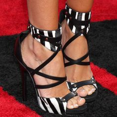 Jimmy Choo 'Jet' zebra print vachetta leather platform sandals