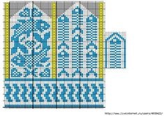 "Вязание. Жаккард - ""Зимняя радуга"" Knitting Charts, Loom Knitting, Knitting Stitches, Knitting Socks, Baby Knitting, Knitting Patterns, Knitted Mittens Pattern, Knit Mittens, Mitten Gloves"
