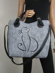 CAT HANDBAG Felted purse Felt Cat bag Felted bag