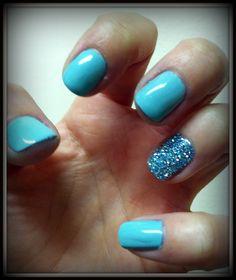 pastel nails + glitter
