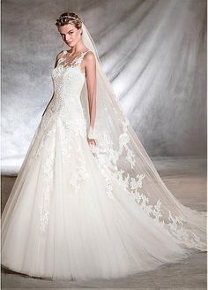 Fantastic Tulle Bateau Neckline A-line Wedding Dresses with Lace Appliques
