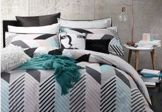 Logan and Mason Rio Mint Duvet Cover Set Duvet Bedding Sets, Queen Size Bedding, Linen Bedding, Bed Linens, Queen Quilt, Single Quilt, Quilt Cover Sets, Dream Bedroom, White Bedroom