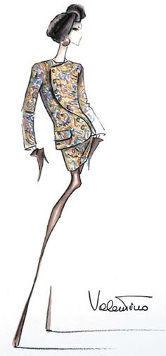I simply adore these dramatic fashion drawings! The suit is incredible, of course, but the pose and the way the hair, face, and hands are drawn is fantastic! x