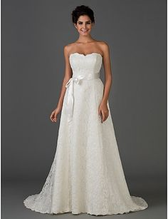 A-line Scalloped-Edge Strapless Chapel Train Wedding Dress