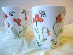 Poppy ceramic tea/coffee mugs Set of two by TivoliGardens on Etsy