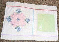 2 Vtg Estate Pillowcases Made from Handkerchiefs 21 Inch x 30 Inch