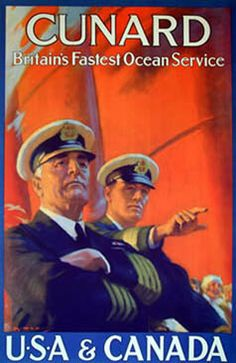 "Image detail for -Vintage ""Cunard"" Travel Line Poster 11 by 17 