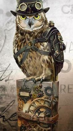 Look out folks, serious Competition arriving on this Board.Steampunk Owl by Kajenna on DeviantArt Steampunk Kunst, Steampunk Artwork, Mode Steampunk, Steampunk Cosplay, Gothic Steampunk, Steampunk Fashion, Steampunk Images, Steampunk Clock, Cyberpunk