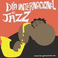¡Feliz Día Internacional del Jazz! Nosotros nos vamos con la música a otra parte. ¡Hasta el lunes! :) #gruetzi #thehappiestadvertisingagencyintheworld #diainternacionaldeljazz #jazz #ilustracion #creatividad #agenciapublicidad