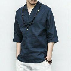 Men's Vintage Cotton linen T shirts Tops Han chinese style Blouses Kongfu Casual Tunic Shirt, Shirt Sleeves, Long Sleeve Shirts, Casual T Shirts, Casual Button Down Shirts, Men Casual, Chemise Fashion, Style Japonais, Linen Tshirts