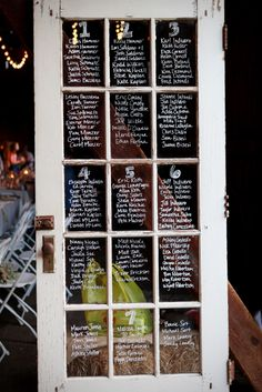 rustic wedding, old door, table numbers and names