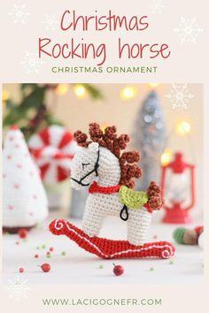 Christmas Rocking horse ornament, Christmas tree decor, Holiday decorations #lacigognefr #crochettoy #crochetchristmas #crochethorse #christmasgiftideas #christmasdecor #christmasstocking #christmasdecorations #rockinghorse