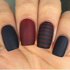 Black & Burgundy nail polish