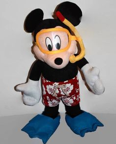 "Mickey Mouse Snorkeling Scuba Diver Plush 26"" Hawaiian Shorts Disney #Disney"