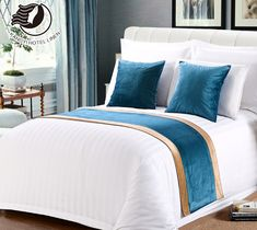 China Supplier Polyester Cotton Hotel Bed Runner For Five Hotel Bed Runner, Camas King, Beige Bed Linen, Bedding Inspiration, Cheap Bed Sheets, Linen Bedding, Bed Linens, Blue Comforter, King Comforter