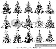 ink christmas trees