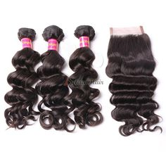 3 Bundles of Brazilian Hair With Closure