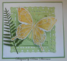 Selma's Stamping Corner...gorgeous use of Memory Box dies...luv the white outline shape over the watercolor look background for the butterfly...