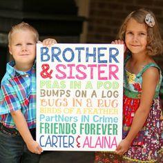 Brother and Sister Wall Art. Sibling Wall Art. Kids Room