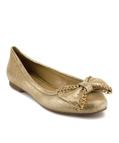 Gold Dorys Suede Flat