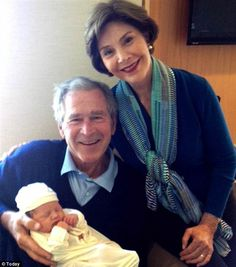 """Jenna Bush Hager's baby girl Margaret Laura """"Mila"""" Hager with grandparents George W. Bush and Laura Bush. Laura Bush, Barbara Bush, American Presidents, Us Presidents, Greatest Presidents, George Bush Family, Bush George, Jenna Bush Hager, Presidential History"""