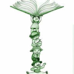 bibliolectors:  Totem lector infantil (ilustración de Noemí Villamuza)