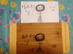 Childs drawing replicated onto cutting board on Etsy, $25.00 CAD