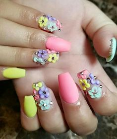 Glitter Nails Attractive Easter Nail Tip Designs Christmas For coffin nails easter - Coffin Nails Funky Nail Art, Funky Nails, Trendy Nail Art, Cute Nails, Nail Tip Designs, Easter Nail Designs, Acrylic Nail Designs, Bling Nails, Glitter Nails