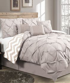 Another great find on #zulily! Taupe Ella Pinch Comforter Set by Geneva Home Fashions #zulilyfinds