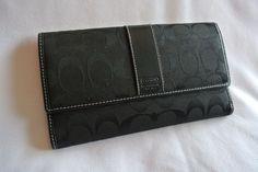 COACH Classic Signature C Black Canvas & Leather Women's Wallet Coin Cards #Coach #Wallet