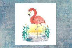 Sunset Flamingo - Summer animals series Available as a postcard Flamingo, Rooster, Illustrations, Sunset, Etsy, Greater Flamingo, Cards, Animaux, Flamingo Bird