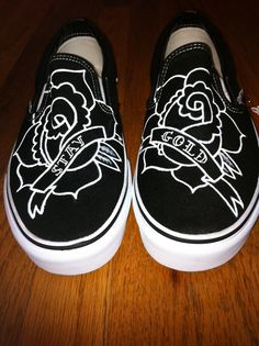Hand Painted Shoes Traditional Tattoo Rose by SpadesandSparrows 4990380e0