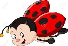 Illustration of Cute ladybug cartoon vector art, clipart and stock vectors. Ladybug Cartoon, Ladybug Art, Ladybug Crafts, Lady Bug, Baby Animals, Cute Animals, Painted Clay Pots, Cute Paintings, Cute Clipart