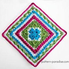 Free Crochet Pattern: Casablanca Crochet Square | Pattern Paradise Crochet Granny Square Afghan, Crochet Blocks, Granny Square Crochet Pattern, Crochet Squares, Crochet Motif, Crochet Patterns, Granny Squares, Square Blanket, Crochet Stitches