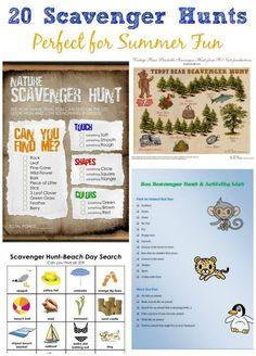 "Lots of fun themed scavenger hunts (with free printables!) for the kids this summer!  Easy DIY activity for when they say ""I'm bored!"""