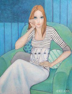 WAISTED-EYES Margaret Keane, Sea Glass Art, Famous Artists, Face Masks, Princess Zelda, Paintings, Eyes, Wall, Big Eyes