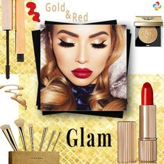 Glam Beauty. There's nothing richer looking then gold makeup. For making it trendier add a pop of red lipstick to it.  https://www.estrolo.com/whatstrending/cat/beauty/ #BeautyTips #GoldenRed #EstroloFashion