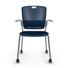 Shell Blue Cinto Chair with Arms, Rolling, Silver Frame, Pool Blue... at the casual meeting/lunch table