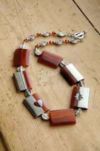 Creative Company | Pewter it – Carnelian and pewter bead necklace Beaded Necklace, Beaded Bracelets, Creative Company, Carnelian, Pewter, Craft Projects, Beads, Gifts, Jewelry