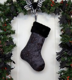 Charcoal Gray Gothic Christmas Stocking Black by workingclasspunx, $30.00